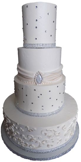 Buttercream Wedding Cakes York PA   Buttercream wedding cakes     4 Tier buttercream wedding cake decorated with a fondant sash and pearls   diamonds and an