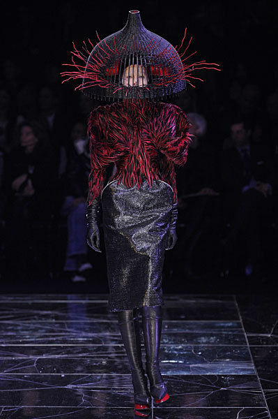 Alexander McQueen FW09 Red and Black Feather Jacket on Exshoesme.com