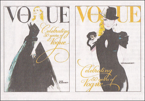 Downton draws Cate in Martin Grant and McQueen, Vogue Australia, September 2009