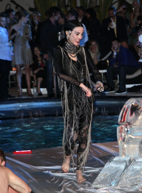 Wow, haute couture looks good even when dripping wet...