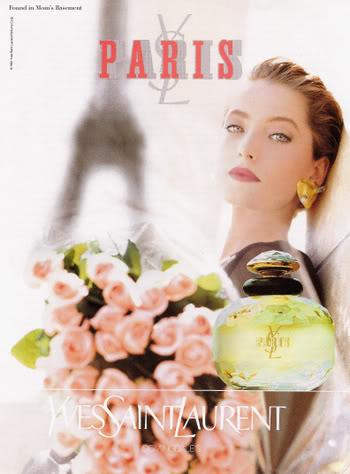 Paris Perfume ad circa 1985, featuring Lucie de la Falaise
