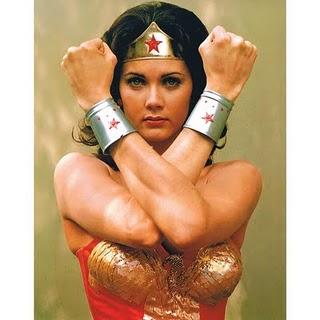 Wonder Woman with her famous bracelets on exshoesme.com