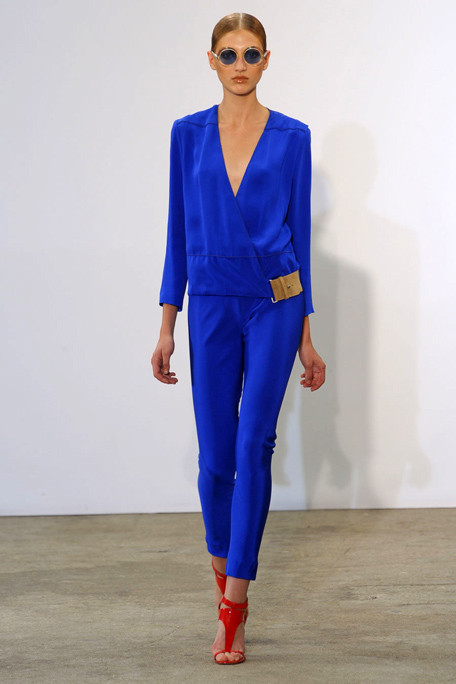 Costume National SS11 Electric Blue Suit with Red Heels on exshoesme.com