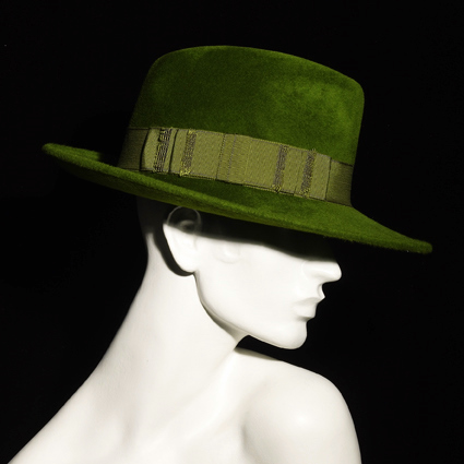 Philip Treacy green trilby hat on exshoesme.com