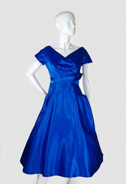 50s Blue Satin Dance Dress via Shrimpton Couture on exshoesme.com
