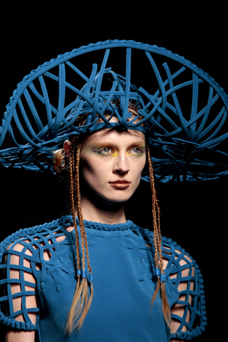 Jean Paul Gaultier Woven Blue Hat Couture Spring 2010 on exshoesme.com