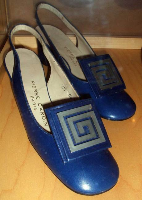 Pierre Cardin Blue 1960s Slingback Shoes at the Bata Shoes Museum on exshoesme.com