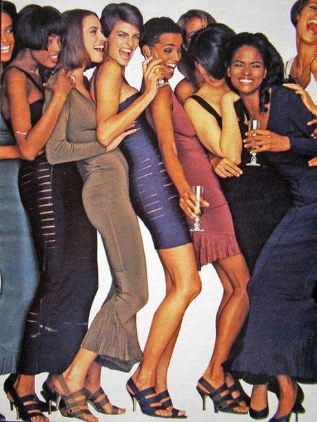 Supermodels in Azzedina Alaia in Elle Magazine 1990 on exshoesme.com