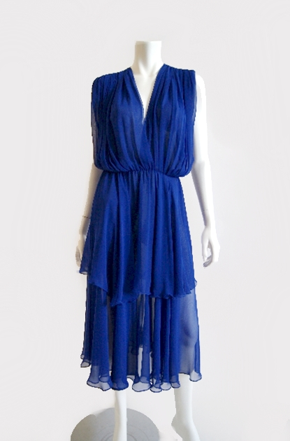 Wayne Clark 1980s Blue Dress via Shrimpton Couture on exshoesme.com