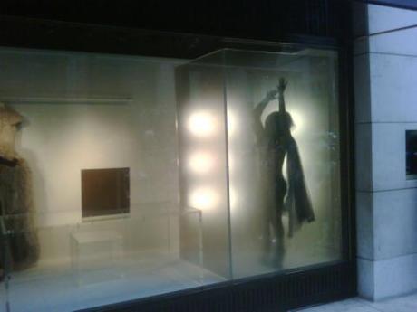 Daphne behind screen in Barneys window prior to the Met Gala 2011.