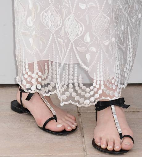 Elizabeth Olsen in Guiseppe Zanotti Flats at the Cannes 2011 Film Festival on exshoesme.com.