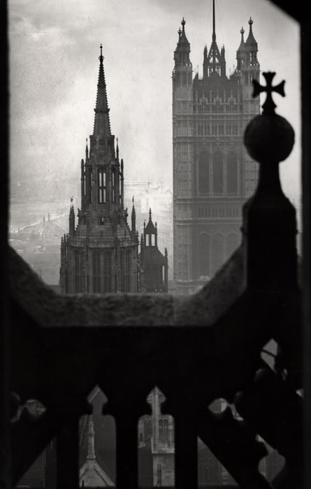 The Houses of Parliament, view from Victoria Tower, London, 1934 by E.O. Hoppé on exshoesme.com