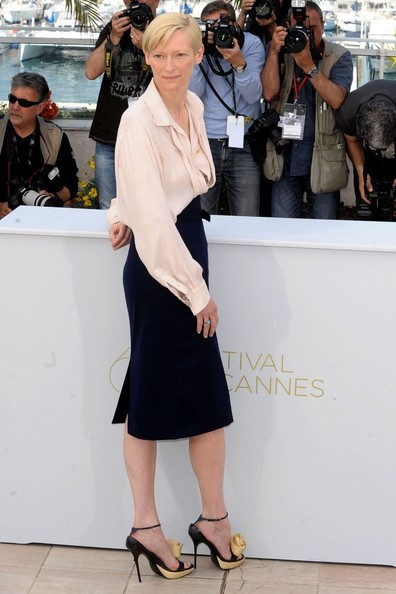 Tilda Swinton at Photo Call during the 2011 Cannes Film Festival on exshoesme.com.  Photo by Bauer Griffin.