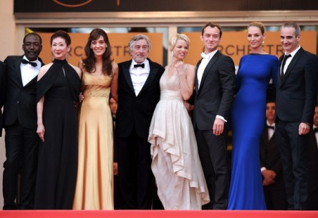 Uma Thurman with fellow jury members at the Closing Cerermony at the 2011 Cannes Film Festival on exshoesme.com.