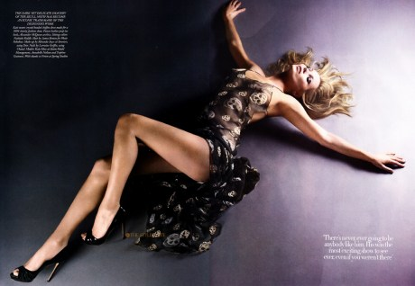 Kate Moss in the SS04 Alexander McQueen dress in the May 2011 issue of Harper's Bazaar UK on exshoesm.ecom