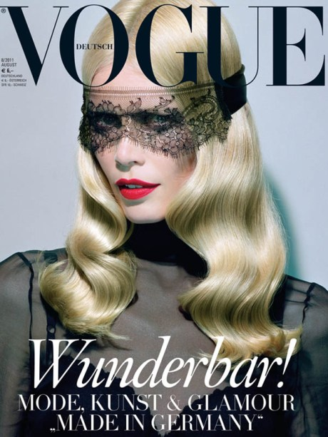 Claudia Schiffer by Miles Aldridge on Vogue Germany August 2011 Cover on exshoesme.com