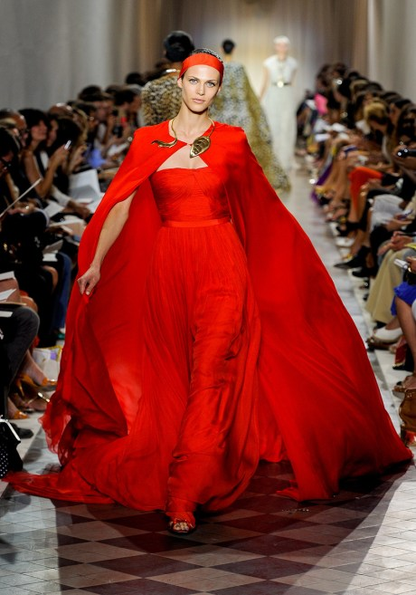 Giambattista Valli Fall 2011 Haute Couture Red Gown on exshoesme.com