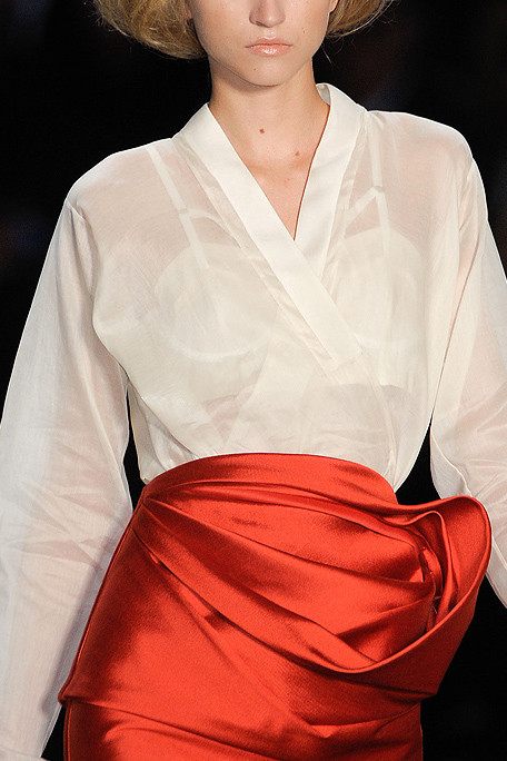 Vera Wang SS11 White Blouse and Red Skirt on exshoesme.com