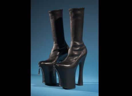 Daphne Guinnes FIT Exhibit Preview Alexander McQueen Zippered Platform Boots on Exshoesme.com