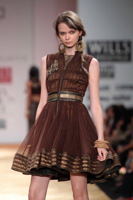 Kavita Bhartia AW11 Brown and Gold Dress on exshoesme.com