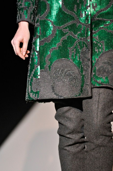 Alberta Ferretti FW11 Green and Grey Coat Detail on Exshoesme.com