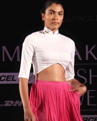 Anamika Khanna Spring Resort 2011 Pink Skirt and Cropped White Shirt on Exshoesme.com