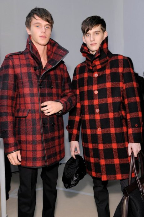 Burberry FW11 Menswear Red and Black Lumberjack Coats on Exshoesme.com