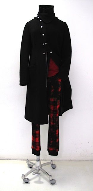 Y's Black Military Coat and Tartan Trousers on Exshoesme.com