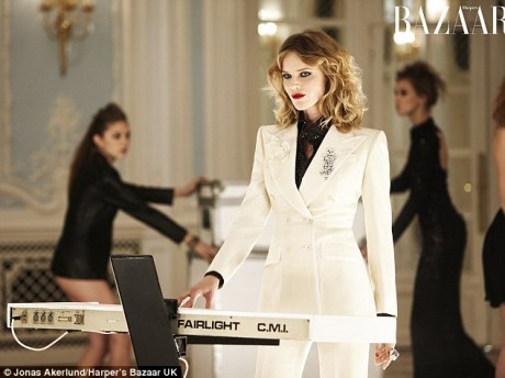 Eva Herzigova as Nick Rhodes in Duran Duran's Girl Panic in UK Harper's Bazaar December 2011 by Jonas Akerlund