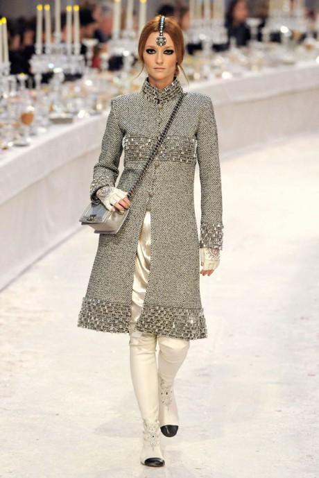 Chanel Métiers d'Art PF12 Paris-Bombay Collection Long, Grey Tweed Coat on Exshoesme.com