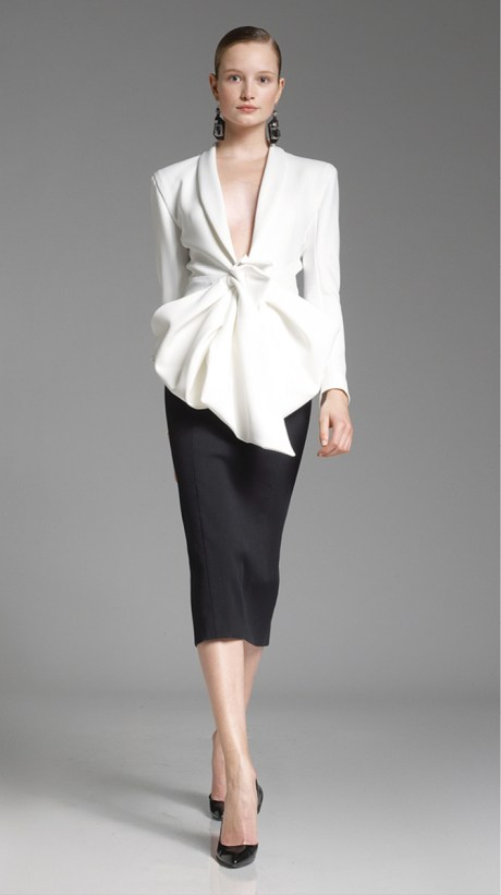 Donna Karan PF12 Black Pencil Skirt and Flared Fitted Jacket on Exshoesme.com