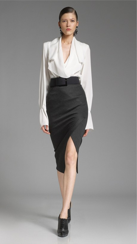 Donna Karan PF12 Black Pencil Skirt and White Blouse on Exshoesme.com