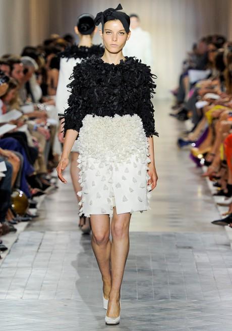 Giambattista Valli FW11 Couture Black and White Embellished Coat on Exshoesme.com