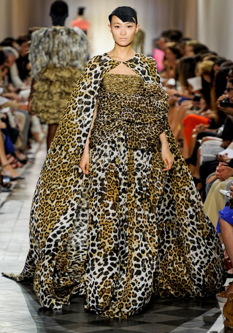 Giambattista Valli FW11 Couture Leopard Print Trailing Gown on Exshoesme.com