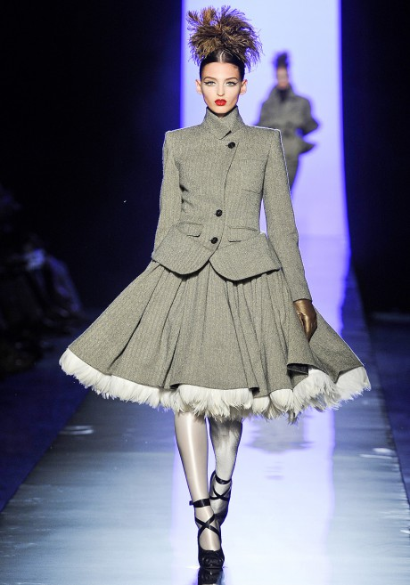 Jean Paul Gaultier FW11 Couture Feather Crinoline Suit Grey Suit on Exshoesme.com