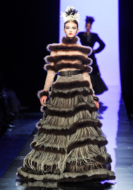 Jean Paul Gaultier FW11 Couture Fur-Trimmed Evening Gown on Exshoesme.com