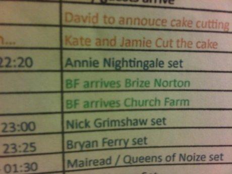 Kate Moss Jamie Hince Wedding Itinerary on Exshoesme.com