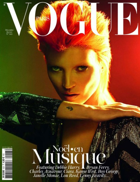 Kate Moss channels David Bowie on the cover of French Vogue December 2011 on Exshoesme.com