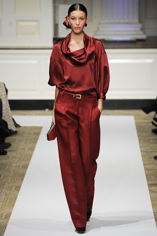 Oscar de la Renta PF12 cranberry trousers and cowl neck blouse on Exshoesme.com