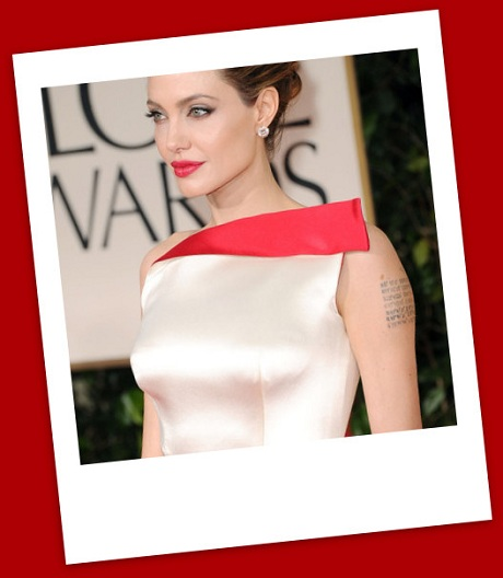 Angelina Jolie's red lips at the 2012 Golden Globe Awards on Exshoesme.com
