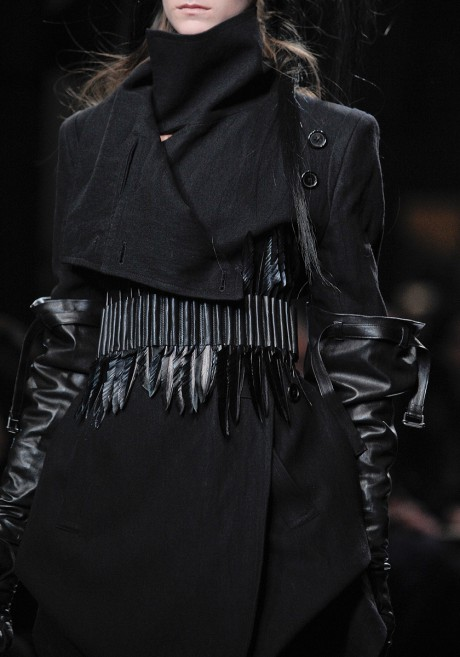 Ann Demeulemeester FW11 Wool Folded Flap Coat with Leather Feather Belt Detail on Exshoesme.com