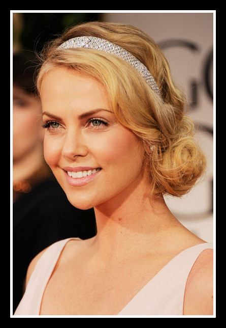 Charlize Theron's diamond headband at the 2012 Golden Globe Awards on Exshoesme.com