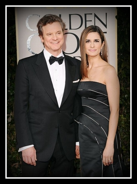 Colin Firth and Livia Firth in Armani at the 2012 Golden Globe Awards on Exshoesme.com
