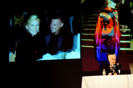 Daphne Guinness speaking about meeting Alexander McQueen at the Fashion Icons and Insiders Symposium at FIT in November, 2011 on Exshoesme.com. Photo by Jyotika Malhotra.
