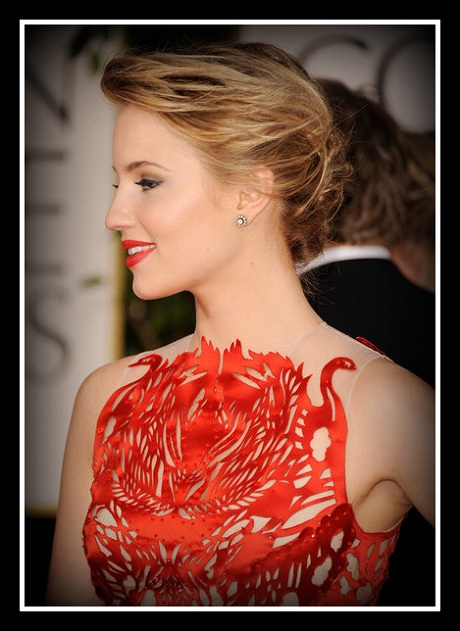 Dianna Agron in Giles - Detail of Swans at the 2012 Golden Globe Awards on Exshoesme.com