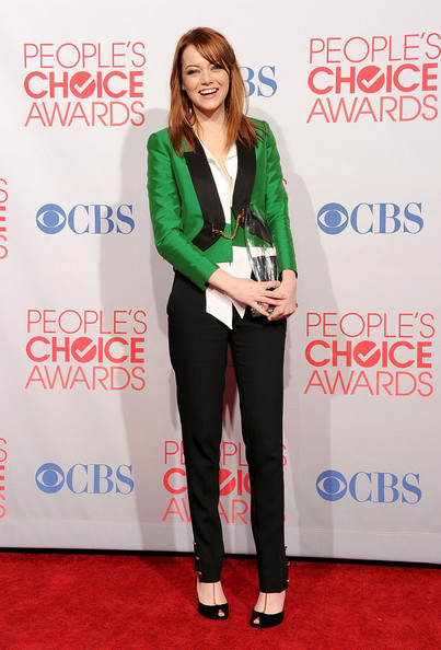 Emma Stone in Gucci Photo by Jason Merritt Getty Images North America on Exshoesme.com