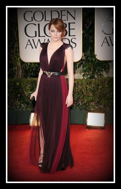 Emma Stone in Lanvin at the 2012 Golden Globe Awards on Exshoesme.com