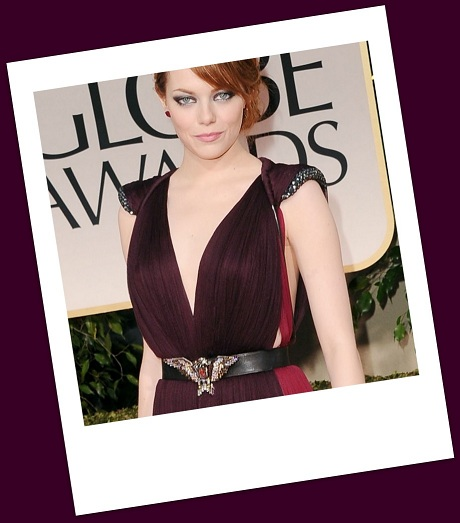 Emma Stone's eagle belt at the 2012 Golden Globe Awards on Exshoesme.com