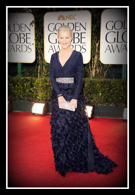 Helen Mirren in Badgley Mischka at the 2012 Golden Globe Awards on Exshoesme.com