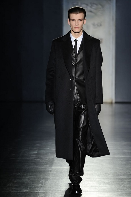 Jil Sander FW12 Menswear Leather Suit and Wool Overcoat on Exshoesme.com